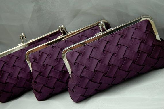 Hochzeit - Eggplant Bridesmaid Clutch, Purple Clutch, Wedding Clutch, Prom Clutch, Formal Purse {Woven Kisslock}