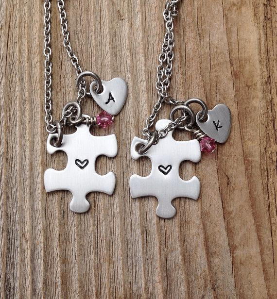 Mariage - Hand stamped mini puzzle piece necklaces best friends, sisters , bridesmaids ,gift for her stainless steel jewelry