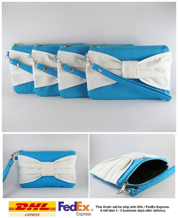 Свадьба - SUPER SALE - Set of 8 Turquoise with Ivory Bow Clutches - Bridal Clutches,Bridesmaid Clutch,Bridesmaid Wristlet,Wedding Gift - Made To Order
