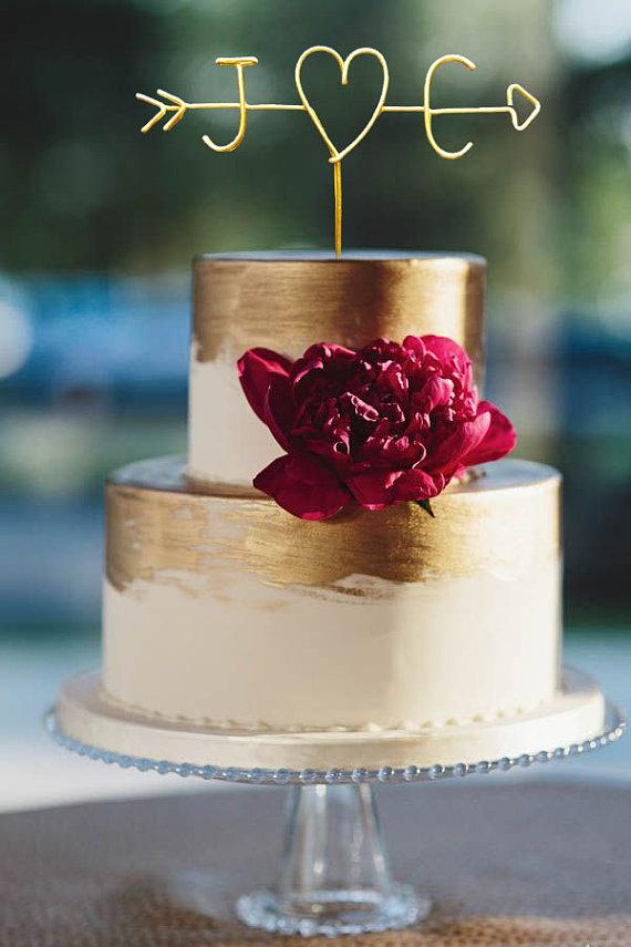 Wedding cake topper wire cake topper arrow initials cake wedding cake topper wire cake topper arrow initials cake topper personalized cake topper rustic chic name cake topper junglespirit Gallery