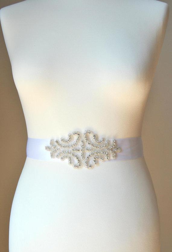 Mariage - Bridal Sash with Crystal Rhinestones ,Wedding Dress Sash Belt,  Rhinestone Sash,  Rhinestone Bridal Bridesmaid Sash Belt, Wedding dress sash