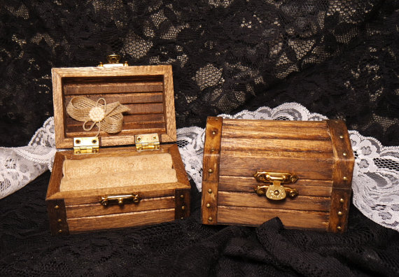 Wedding - Rustic Wedding Ring Box, Stained Wedding Ring Box, Rustic Treasure Chest Ring Box, Ring Pillow Alternative, Ring Bearer Wedding Ring Box