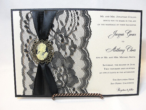 Свадьба - Lace Wedding Invitation, Lace Wedding Invite, Lace Invite, Lace Invitation, Lady Cameo Invite,VICTORIA - LADY HORIZONTAL
