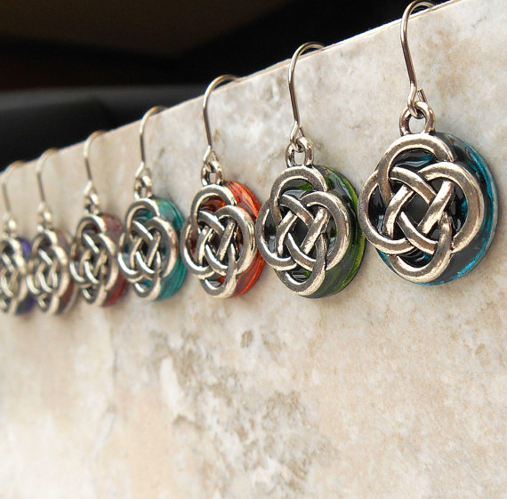 Celtic Knot Wedding Earrings Bridal Dangle Earrings Celtic
