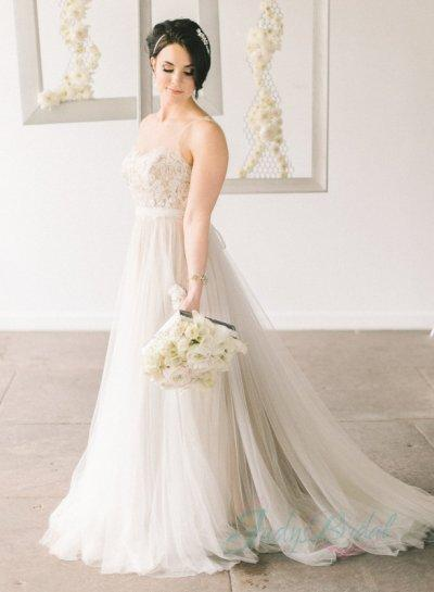 wedding romance sheer tulle top flowy tulle wedding dress