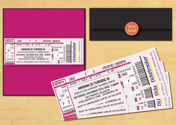 Wedding - Slumber Party Ticket Invitation Printable Movie Night or Rock Star You Choose Colors