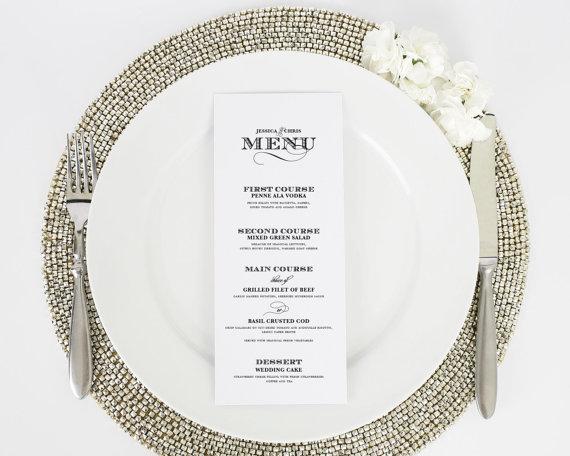 Mariage - Wedding Menu - Dinner Menu - Ornate Elegance Design - Deposit