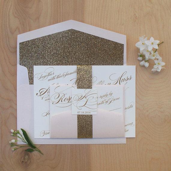 Glitter Wedding Invitation, Gold And Blush Belly Band Invitation, Gold  Glitter Invitation SAMPLE