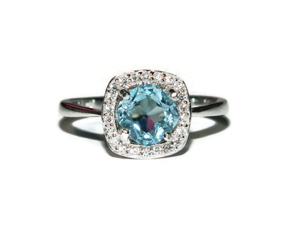 Mariage - Blue Topaz Halo Ring, Anniversary, Engagement, Sky Ble Topaz