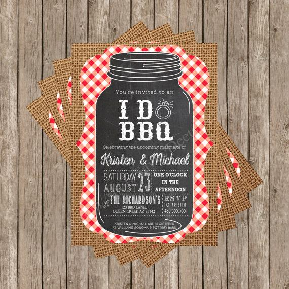 Wedding - Rustic I Do BBQ Party Invitation Printable - Chalkboard Mason Jar - Burlap and Gingham