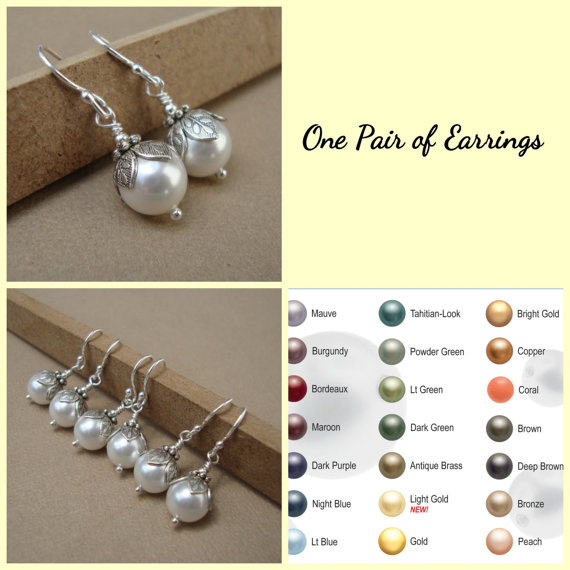 Wedding - Pearl Drops Bridal Earring - Wedding Jewelry - Sterling Silver, Bridesmaids, Bridal Party, Wedding,Bridesmaid Jewelry
