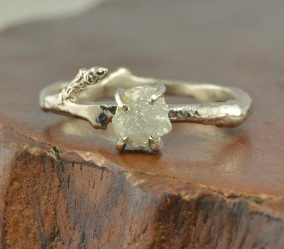 Mariage - 14k White Gold Rough Diamond Engagement Ring