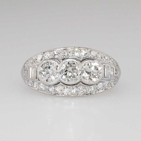 Mariage - Sparkling 1.85ct t.w. Old European Cut Diamond Engagement Ring Platinum