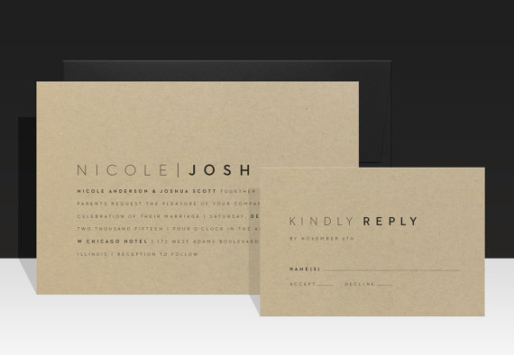 Mariage - Simple Modern Kraft Wedding Invitation - Minimalist Urban Weddding Invitations - Wedding Invites - Nicole