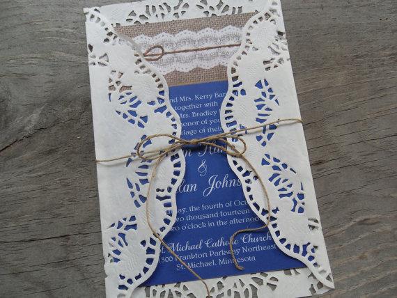 Hochzeit - Wedding Invitations Invites Announcements Rustic Country Lace Burlap Navy Coral Yellow Mint Barn Nautical Beach Destination wedding