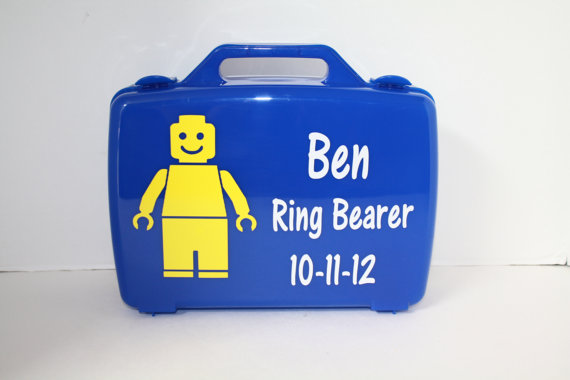 Personalized Lego Case/Box - Blue, Plastic, Ring Bearer #2313334 ...