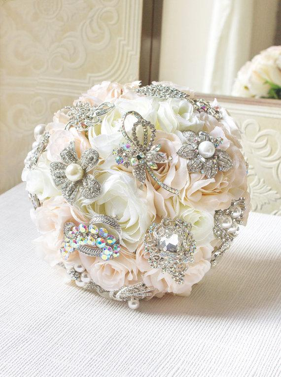 Blush Brooch Bouquet, Silk Flower Brooch Bouquet, Wedding Bouquet ...