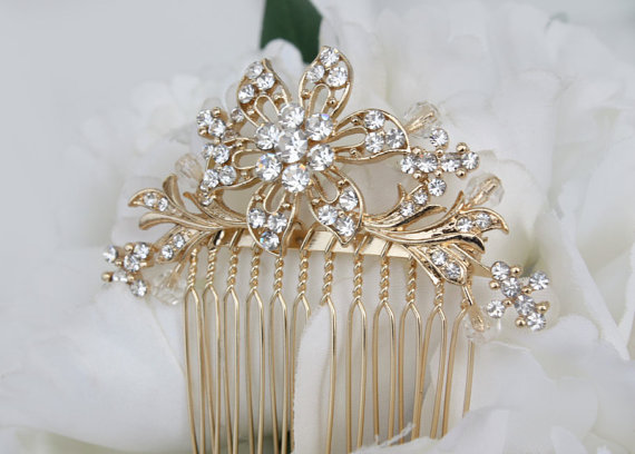 Hochzeit - Gold Hair Comb Wedding Hair Comb Rhinestone Clear Crystal hair comb Bridal hair accessories Wedding jewelry Bridal Jewelry Wedding Accessory
