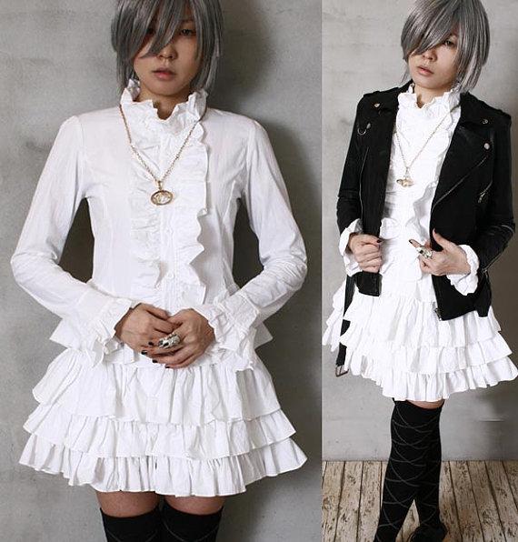 Свадьба - Gothic Goth Victorian Dolly Lolita Nana EGL Wedding Bridal Tux Frill Tiered Dress White