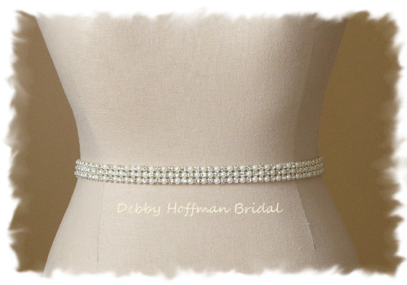 Свадьба - SALE ~ Rhinestone Pearl Bridal Sash, Pearl Crystal Wedding Sash, Pearl Wedding Sash, No. 4090S, Crystal Pearl Sash, Bridal Party Pearl Belt