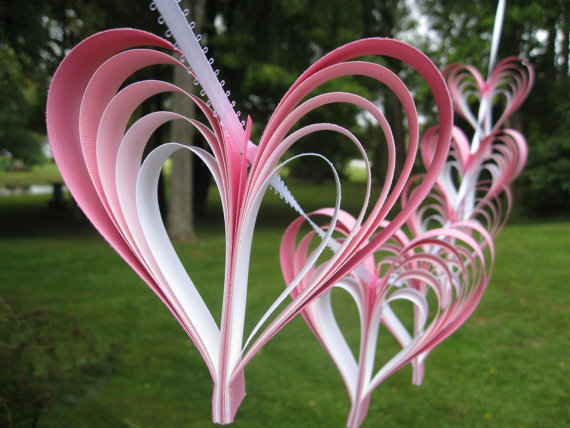 Свадьба - Pink Ombre Heart Garland. Wedding, Shower Decoration. ANY Color Available. CUSTOM Orders WELCOME.