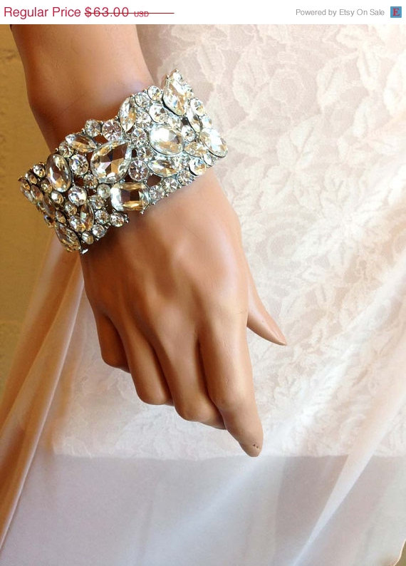 Mariage - Bridal bracelet, bridal cuff, crystal cuff, vintage inspired rhinestone bracelet , wedding jewelry, bridesmaid jewelry