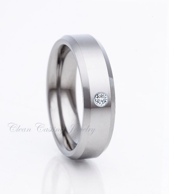 Mens Tungsten Wedding BandWhit Diamond RingEngagement Band