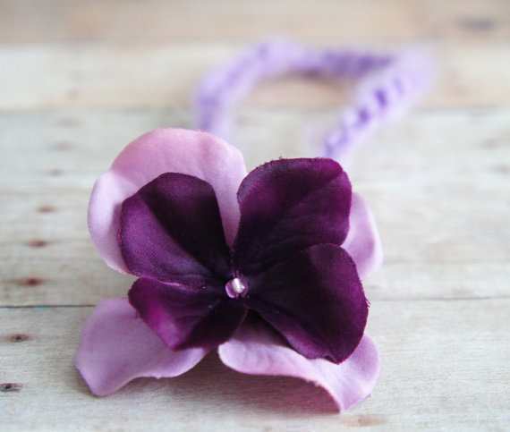 Свадьба - Deep Purple and Lavender Flower Headband