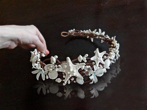 Seashell Hairpiece Starfish Hair Accessories Bridal With Crystals Beach Wedding Accessory Flower Crown Aqua Blue White