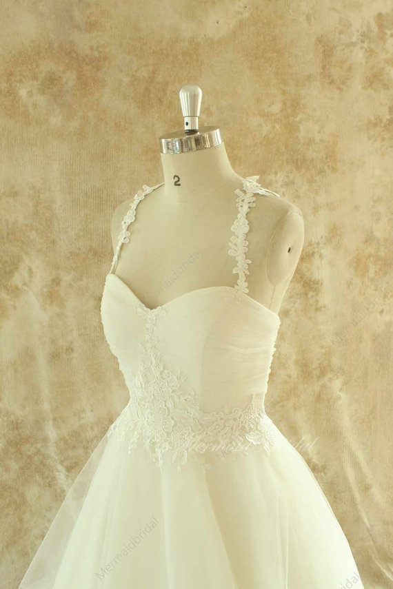 Свадьба - Ivory a line tulle lace wedding dress with lace straps