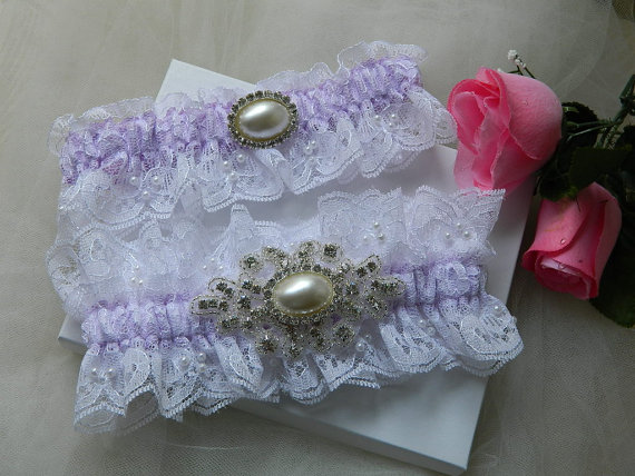 Mariage - Wedding Garter Set,White Chantilly Lace And Lilac Satin With Rhinestone Pearl Applique