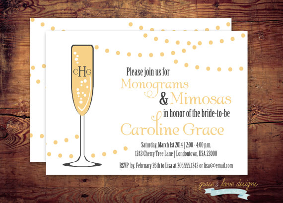 printable monogram and mimosas shower invitation or any occasion digital file diy printing at home or your choice of printer