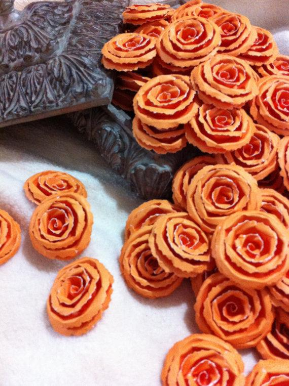 Mariage - Wedding Paper Flowers...200 Piece Set of Custom Made Very Pretty Shabby Chic Scrapbook Paper Flower Rolled Roses
