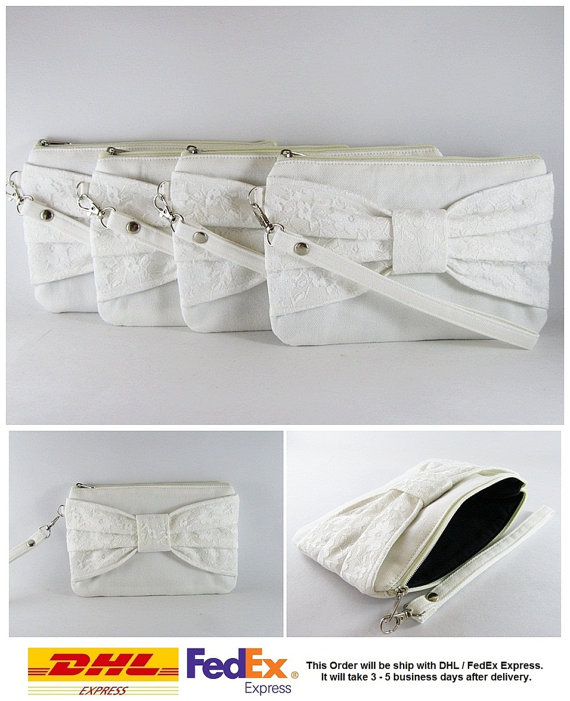 Wedding - SUPER SALE - Set of 5 Ivory Lace Bow Clutches - Bridal Clutches, Bridesmaid Clutches, Bridesmaid Wristlet, Wedding Gift - Made To Order