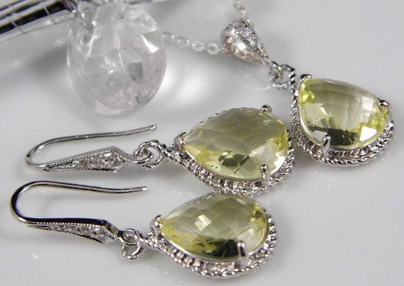 Wedding - Yellow Bridesmaids Jewelry, Yellow Wedding, Lemon Yellow Jewelry, Bridal Jewelry