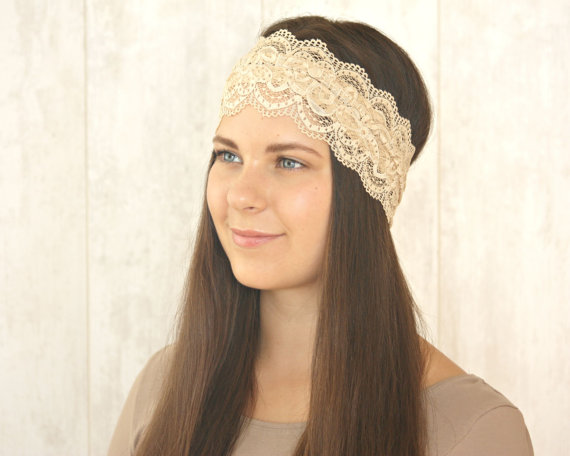 Mariage - Stretch Lace Headband Adult Lace Headband Camel Light Brown Headband Wedding Bridesmaid Gift