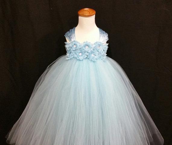 Свадьба - Light blue flower girl dress/ Junior bridesmaids dress/ Flower girl pixie tutu dress/ Rhinestone tulle dress