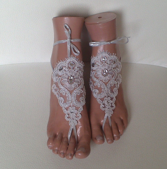 Free Ship Silver Wedding Barefoot Sandals Flowers Wedding Shoes ... bbbae889a0a2