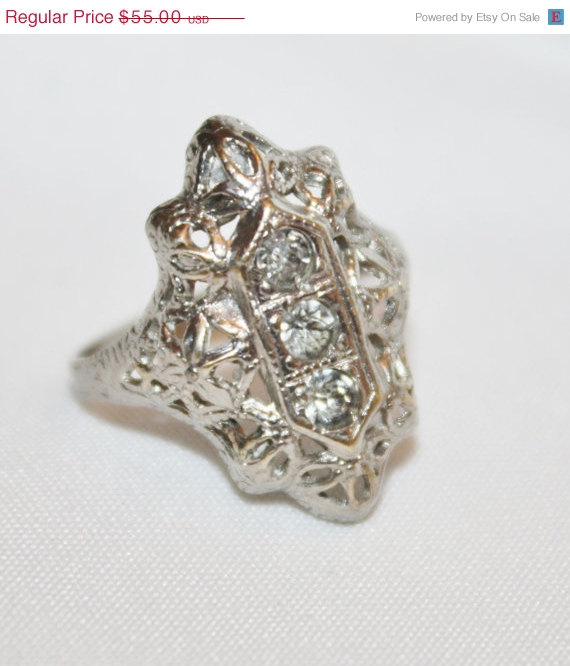 Mariage - Fashion Sale Sterling Filigree Ring CZ  Art Deco  Engagement Vintage 1930s Jewelry