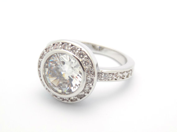 Wedding - Art Deco Engagement Ring Wedding Ring Vintage Inspired Solitaire Ring With Accents size 5 6 7 8 9 10 - MC1075771AZ