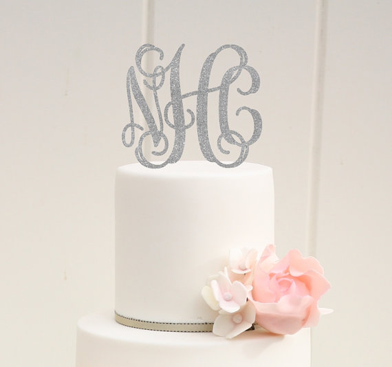 Hochzeit - Vine Monogram Glitter Wedding Cake Topper Personalized with YOUR Initials - 0061