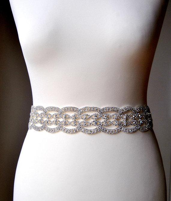 "Mariage - Wedding dress Bridal Sash,Luxury Crystal Bridal Sash, Rhinestone Sash, Rhinestone Bridal Bridesmaid Sash Belt, Wedding dress sash belt 2"""