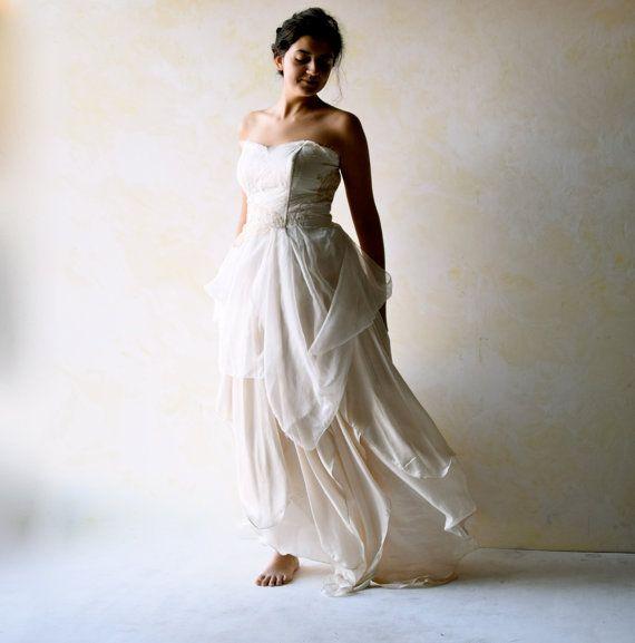 Wedding - Boho Wedding Dress, Alternative Wedding Gown, Strapless Wedding Dress, Fairy Wedding Dress, Beach Wedding Dress, Backless Wedding Dress