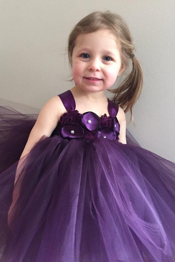 Plum Flower Girl Tulle Dress, Eggplant Flower Girl Dress, Girls ...