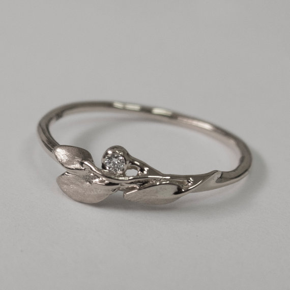 Leaves Diamond Ring No 1 14K White Gold And Diamond Engagement