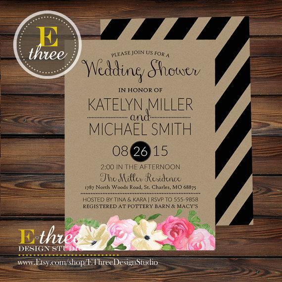 Hochzeit - Printable Wedding Shower Invitation - Rustic Watercolor Flowers Black Stripes - Pink, Cream, Black, Brown Kraft Paper Bridal Shower