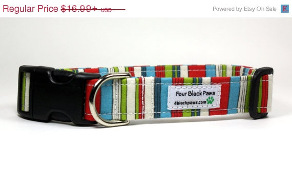 Hochzeit - SALE Colorful Dog Collar - The Circus Adjustable Dog Collar - Made to Order in 5 Sizes - Wedding Dog Collar