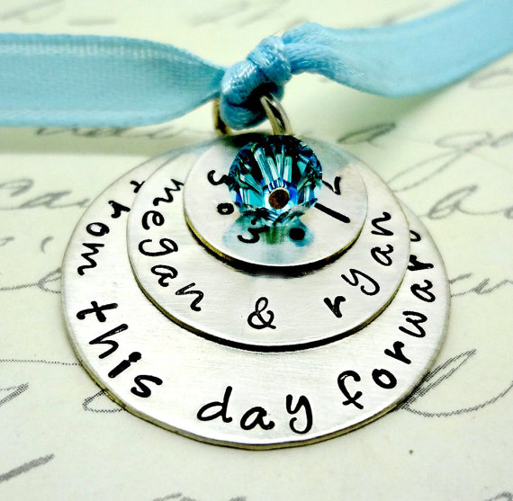 Wedding - Custom Bridal Bouquet Charm & Necklace for the Bride - Something Blue - Hand Stamped Sterling Silver  - Personalized - Wedding