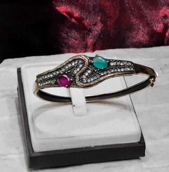 Wedding - Bracelet With Rhinestones, Ruby Bracelet, Antique Bracelet,wedding bracelet, antique jewelry, antique bracelet, antique wedding jewelry