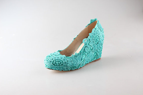 Wedding - 2015 cyan lace wedge, handmade lace bridal shoes, cyan lace wedding shoes, cyan lace shoes in handmade